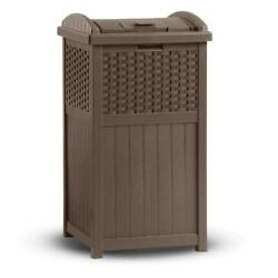 Suncast 33 Gallon Hideaway Trash Can for Patio Brown $87.64