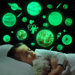 Glow in The Dark Stars Planets Stickers Ceiling Wall Kids Bedroom Luminous Decal $13.89