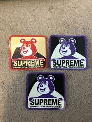 3 Supreme Protection From Suckas Stickers. 1 Red 2 Purple Stickers $4.99