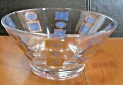 Vintage Glass Bowl Gold And Blue Design Mid Century $7.99