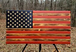 American Flag Dark Burn Wooden Rustic Handcrafted Large 19.5x37quot; $85.00