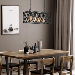 Industrial Kitchen Island Pendant Lighting Pynsseu Rectangular Vintage Rustic 4 $135.96