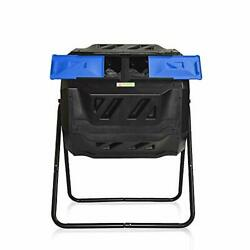 Large Compost Tumbler Bin Rotating Dual Compartment Sturdy Steel Frame 43 Gallon $122.28
