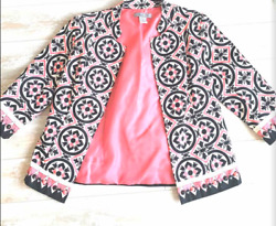 Womens multicolor white peach and black jacket size small from Stein Mart $18.00