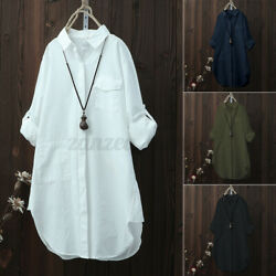 US STOCK Women#x27;s Casual Loose Shirt Long Sleeve Oversized Tops Blouse Plus Size $13.79