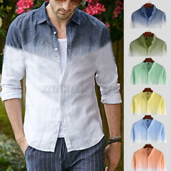 US STOCK Mens Cotton Linen Long Sleeve Casual Beach Shirts Party Holiday Top Tee $17.85