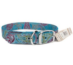 Dog Leather Collar Turquoise Paisley 24quot; Omni Pet $15.90