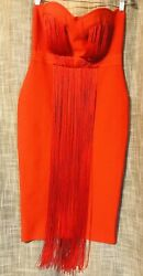 New Women#x27;s Bodycon Rayon Red Cocktail Sleeveless Fringe Front Party Dress XL $25.49