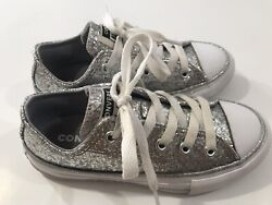 Converse All Star Kids Lace Up Low Tops Silver Glitter Sneakers Shoes Size 11 $20.00