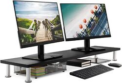 Large Dual Monitor Stand Riser Support Space Organizer Home Office Black New $114.95