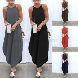 US Womens Strappy Maxi Baggy Dress Holiday Cocktail Dresses Evening Slip Dress $11.95