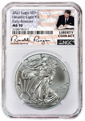 2021 1oz Silver Eagle NGC MS70 Early Releases Liberty Coin Act Label $60.99