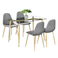 5 Piece Dining Table Sets Glass Dining Table 4 Chairs Kitchen Room Furniture $339.99