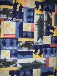 1 2 Yd Military Novelty Quilt Fabric Navy Striped Collage $6.99