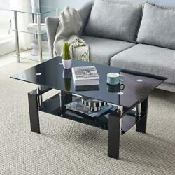 Rectangular Coffee Table Glass Shelf Living Room Wood Furniture Coffee Black US $85.99