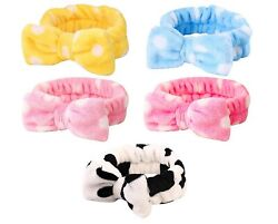 5 Pack Spa Bow Headband Coral Fleece Makeup Cosmetic Headband For Washing Face $11.99