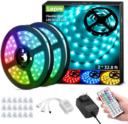Lepro 65.6Ft Led Strip LightsUltra Long Rgb 5050 Led Strips With Remote Control