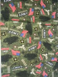 1 FQ Military Novelty Quilt Fabric US Army on Green Logos Tanks Eagles Flags $3.29