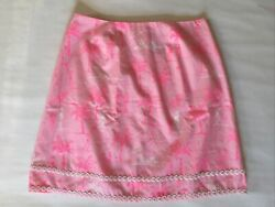 LILLY PULITZER pink white BEACH PALMS lined Skirt WOMEN'S SIZE 4 White Label $24.80
