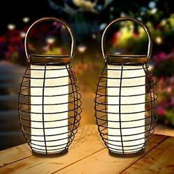2 Pack Hanging Solar Lanterns Lights With Handle Outdoor Powered 30 LEDs Table $36.79