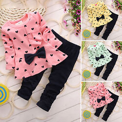 Toddler Kids Girls Long Sleeve T Shirt Tops Pants Tracksuit Clothes Outfit Set $16.14