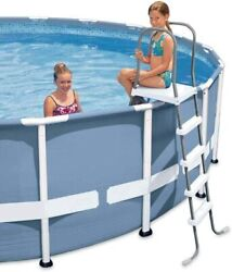 Intex 28067E Above Ground 52quot; Wall Steel Frame Swimming Pool Entry Ladder $71.96