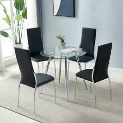 New Style 5 Piece Dining Table Sets Glass Metal 4 PU Leather Chairs Kitchen Room $199.90