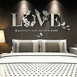 3D Leaf LOVE Wall Sticker Stylish Removable Art Vinyl Decals Bedroom Decoration $7.22