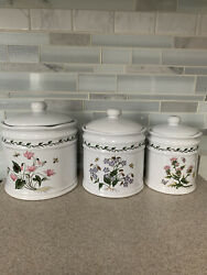 Lillian Vernon Botanical Flowers Kitchen Counter Canisters with Lids set of 3 $48.50