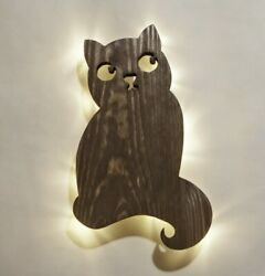 Cat night light Bedside lamp Wooden lighting Natural wall sconce Wood wall lamp $49.00