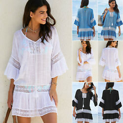 Women Bikini Cover Ups Maxi Peasant Dress Semi Sheer Baggy Beachwear Kaftan Top $19.75