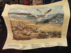 1 Yd Vtg Cranston Novelty Quilt Fabric Panel Shorebirds Collection Wallhanging $8.99