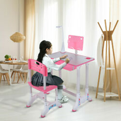 Student Desk and Chair Set Height Adjustable Children School Study Desk Pink $61.87