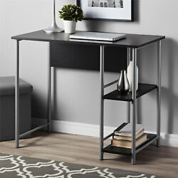 NEW Mainstays Basic Metal Student Computer Desk Black Oak $47.99