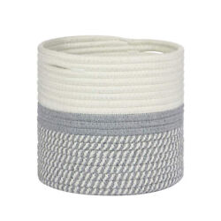 Rustic Home Decor Floor Modern Cotton Rope Woven Storage Basket Flower Pot Cover $13.15
