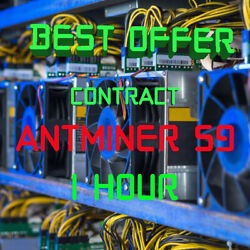 1 Hour Mining Contract 14.8 TH s antMiner S9 Bitmain Bitcoin BTC Ƀ NEW Best $1.30