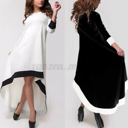 US STOCK Women Paty Night Maxi Shirt Dress Long Sleeve High Low Midi Dresses NEW $16.91