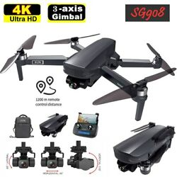 SG908 5G WIFI FPV GPS Brushless Drone 4K 3 Axis Gimbal RC Quadcopter with Camera $211.97