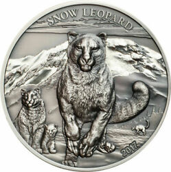 2017 Mongolia 500 Togrog Snow Leopard Antiqued 1 oz .999 Silver Coin 999 Made $144.50