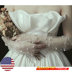 Women Lace Floral Tulle Pearl Gloves Wedding Party Bridal Gloves Fingerless $6.69