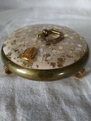 VINTAGE BRASS TRINKET JEWELRY BOX w LID amp; FOOTED 1quot; TALL $6.00