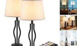 USB Table Lamps for Living Room 25 Inch Bedroom Lamps for Nightstand Set of 2 $111.88