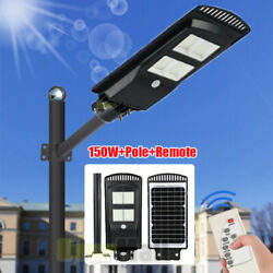 150W Solar LED Street Light Commercial Outdoor IP67 Dusk to Dawn Road lightPole