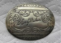 Larry Mahan Cowboy Rodeo Champion For Budweiser Nickel Silver BELT BUCKLE $29.99