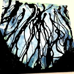 Original Signed Drip Acrylic Painting on Canvas Blue $180.00