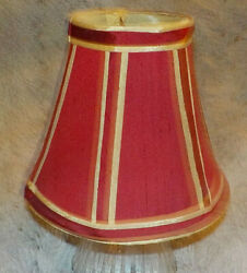 Small 5quot; fabric burgundy amp; gold chandelier lamp shade clip on stripes $6.79