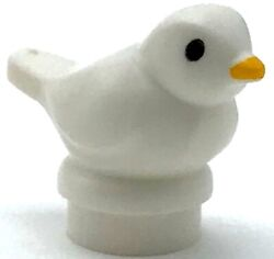 Lego New White Bird Small with Black Eyes and Bright Light Orange Beak Pattern $1.99