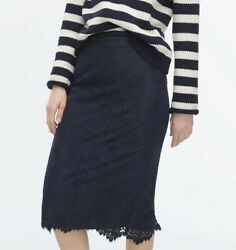 J. Crew Women's Size 4 Chantilly Lace Pencil Skirt Navy Blue Retail $59.99 NWT $29.99