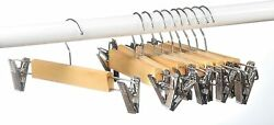10 PACK Wood skirt hangers with Clips or pants hangers with clips trouser hanger $9.99