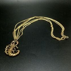 Necklace Scorpion Pendant Bronze Brass Gold Tone Zodiac 3 Chains One of a Kind $16.34